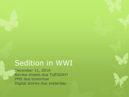 Sedition in WWI
