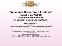 """women`s career for a lifetime"" project of the awcdh"