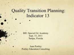Quality Transition Planning