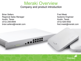 Meraki Overview - Texas K