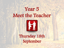 Year 6 Meet the Teacher - Moorlands Schools Federation