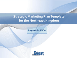 Strategic Destination Marketing Plan Template for NEK