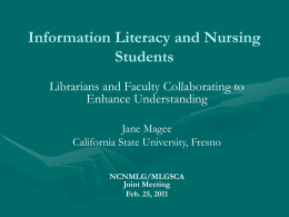Information Literacy and Nursing Students