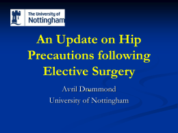 An Update on Hip Precautions following Elective Surgery
