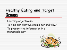 Healthy Eating and Target Groups