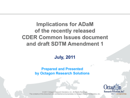 ADaM implications from CDER Common Issues doc