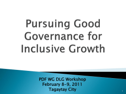 Pursuing Good Governance for Inclusive Growth