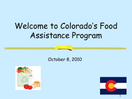 Colorado`s Food Stamp Program