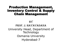 Production Management, Inventory Control & Supply Chain