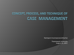 Case Management (3) - Capacity Building Workshop