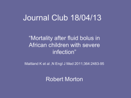 Mortality after fluid bolus in African children with severe infection
