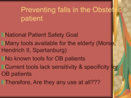 Preventing falls in the Obstetric patient