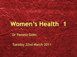Women`s Health 1 - Airedale Gp Training