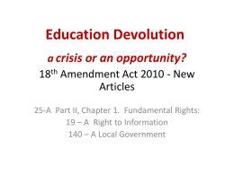 Education Devolution 18 Amendment