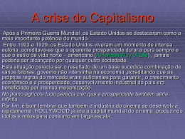 A crise do Capitalismo e os regimes Totalitários