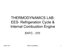 THERMODYNAMICS LAB: Introduction to EES