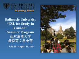 ESL for study in Canada2014