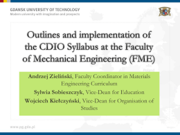 Outlines and implementation of the CDIO Syllabus at the Faculty of