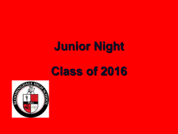 Junior Night PowerPoint - Bloomingdale High School Guidance
