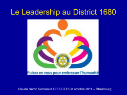 Le leadership au District 1680 - Rotary International District 1680