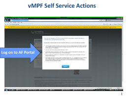 vMPF Self Service Actions Go to vMPF