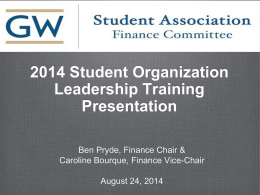 Student Association Finance Committee Presentation