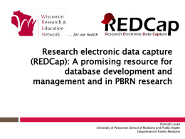 Research electronic data capture (REDCap)