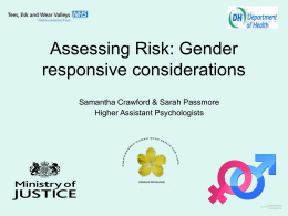 Assessing Risk: Gender responsive considerations
