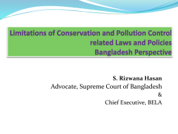 Limitations of Conservation and Pollution Control related Laws and