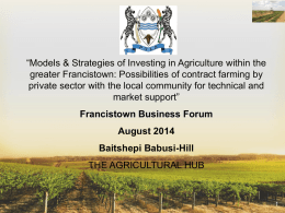 AgricHub Presentation - francistown investment forum