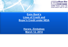 Exim Bank Credit lines - Parliament of Zimbabwe