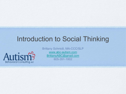 Brittany Schmidt Social Thinking intro