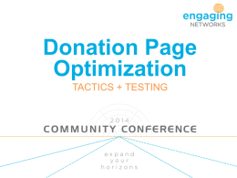 Optimising donation pages in Engaging Networks