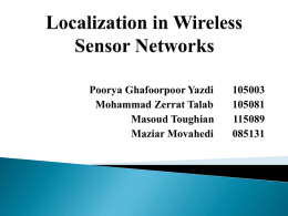 Localization in Wireless Sensor Networks