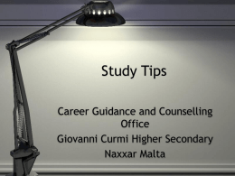 Study Tips - Giovanni Curmi Higher Secondary School
