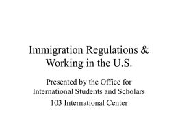 Immigration Seminar (CB) - Office for International Students and