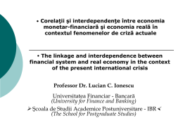 correlation between real economy and the financial system