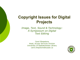 Copyright Issues - University of Saskatchewan