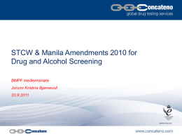 STCW & Manila Amendments 2010 for Drug and Alcohol Screening