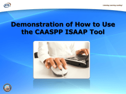 Using the CAASPP ISAAP Tool