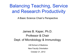 Balancing Teaching, Service and Research Productivity