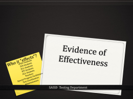 Evidence of Effectiveness - San Antonio Independent School District