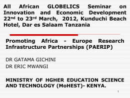 Promoting Africa - Europe Research Infrastructure