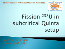 Fission 238U in subcritical Quinta setup