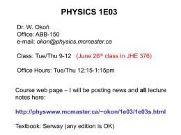 Lecture 1 - McMaster Physics and Astronomy