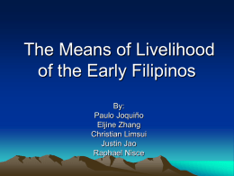 The Means of Livelihood of the Early Filipinos