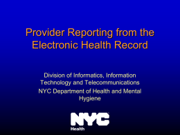 Provider Reporting from the Electronic Health Record (2nd)