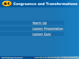 4.1 Congruence and Transformations