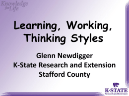 Learning, Working, Thinking Styles