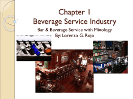 Chapter 1 Beverage Service Industry An Introduction